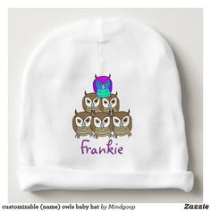 customizable (name) owls baby hat