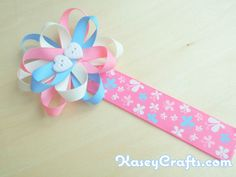 How To Make Flower Ribbon Bookmark For Kids Using Grosgrain Ribbons - Kasey Crafts