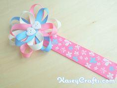 How To Make Flower Ribbon Bookmark For Kids Using Grosgrain Ribbons - Kasey Crafts