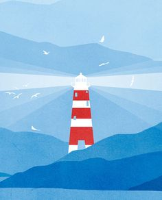 Lighthouse Nautical Decor Nautical Nursery Art Beach by evesand