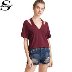 Sheinside Women Halter T-shirt Burgundy V Neck Short Sleeve Brief Summer Tops Casual Clothing 2017 Fashion Cut Out Slim T-shirt
