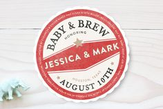 Vintage Coaster Baby Shower Invitations by Fig and Cotton Paperie at minted.com