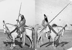 Indian warrior from Orchha, mounted Indian warrior with a tulwar sword, wearing mail and plate armor, helmet and arm guards, he is holding a very long lance and there is a shield at his side.