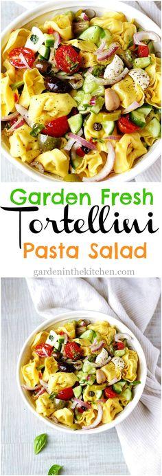 Garden Fresh Tortellini Pasta Salad with fresh veggies, mozzarella cheese and seasoned with a flavorful basil avocado oil dressing! #tortellinipastasalad #pastasalad #tortellini via @https://www.pinterest.com/GardeninKitchen/