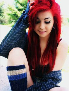 Love this long bright red hair color~ DIY wonderful hair color and keep it long