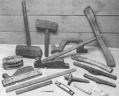 Mary Rose two mallets, brace, and caulking mallet; double-sheaved block , rabbet plane, molding plane, a 24-inch rule (calibrated in inches, but with the first and last six inches also calibrated in 1 in.), 12-inch rule (calibrated in inches, and 1 in.), and iron nail; ax handle, two auger handles, mortise gauge, whetstone holder (also containing a whetstone), and two whetstones.