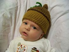 Crocheted Acorn Oak Leaf Woodland Woods Hat Beanie - Infant, Baby & Toddler