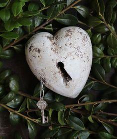 White Heart with Keyhole & Key Clay by Rafael Pineda Mexico Folk Art Shabby Chic #HandMade
