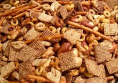 A variety of recipes from decadent desserts to healthy, vegan and vegetarian cuisine. Spicy Party Mix Recipe, Snack Mix Recipes, Yummy Recipes, Bits And Bites Recipe, Yummy Appetizers, Appetizer Recipes, Puppy Chow Recipes, Christmas Baking, Winter