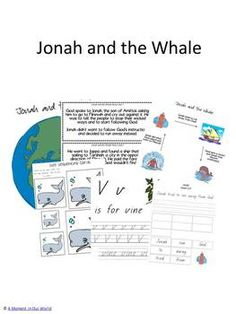 Free Jonah and the Whale printables  includes map  3 part cards, writing practice, pictures for story telling, story and story cards, size sequencing,    dice game, and more