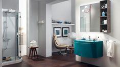 Bagno Aquo | Sito ufficiale Scavolini Blue Small Bathrooms, Bathroom Colors Blue, Grey Bathrooms Designs, Contemporary Bathroom Designs, Beautiful Bathrooms, Modern Bathroom Paint, Bathroom Interior Design, Modern Bathrooms, Bathroom Layout