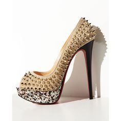 Christian Louboutin Lady Peep Spiked Suede Red Sole Pump ($1,395) ❤ liked on Polyvore