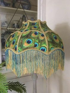 A Victorian, parasol shade, lampshade, Downton shade, peacock fabric, peacock feathers, glass handstrung beading, fringe, gold, 19.5 inches