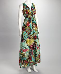 Aqua Stained Glass Surplice Maxi Dress. Looks comfortable