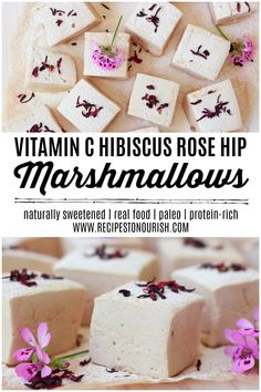 Vitamin C Hibiscus Rose Hip Marshmallows Healthier homemade marshmallows are so easy to make! Give these delicious, simple, honey sweetened Vitamin C Hibiscus Rose Hip Marshmallows a try! Gluten Free Marshmallows, Recipes With Marshmallows, Homemade Marshmallows, Pink Marshmallows, Paleo Dessert, Gluten Free Desserts, Delicious Desserts, Dessert Recipes, Healthy Desserts
