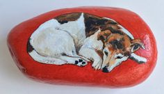 Sleeping+dog+painted+rock+paperweight+by+AlisonsArt+on+Etsy