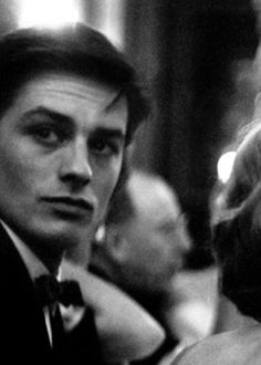 """In the end of the 50s .. All the young ladies could not take their eyes away from the former sailor who fought in Indochina, handsome as a god and that wicked charm."" François Perrault about Alain Delon"