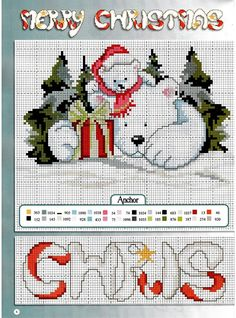 ru / Фото - 33 - ZinaidaR, Polar Bear and cub, gift, present, merry christmas Xmas Cross Stitch, Just Cross Stitch, Cross Stitch Animals, Counted Cross Stitch Patterns, Cross Stitch Charts, Cross Stitch Designs, Cross Stitching, Cross Stitch Embroidery, Christmas Embroidery