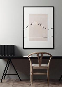 Simple but sophisticated desk set up Pretty Things, Home Office Decor, Home Decor, Desk Set, Inspirational Wall Art, Abstract Wall Art, Minimalist Art, Modern Interior Design, Scandinavian Design