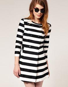 stripe collarless trench from asos - Rockin Tim Burton Style Latest Fashion Clothes, Love Fashion, Fashion Models, Womens Fashion, Fashion Trends, Sweet Fashion, White Fashion, Carrie Bradshaw, Black White Stripes