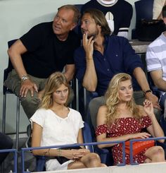 Spotted in the Stands: Leonardo DiCaprio, Ansel Elgort, Alexa Chung, and More at the U.S. Open – Vogue - Michael Kors, Lance LePere, Elsa Hosk, and Constance Jablonski