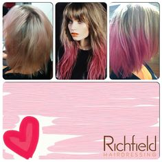 Keeping in line with Jess's love of pastel tones, we used the dip-dying technique as inspiration for Jess's colour. We made the colour softer and more natural through the top whilst maintaining the pastel pink tones through the ends.    This technique works perfectly with Jess's quirky, layered bob. — at Richfield Hairdressing.