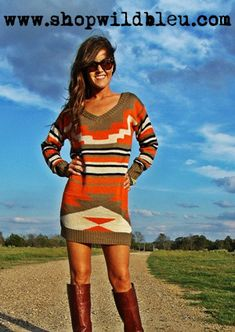 Aztec Sweater Dress & Boots So Stylish For EveryDay Athleisure, Sweater Dress Boots, Sweater Dresses, Fall Outfits, Cute Outfits, Holiday Outfits, Aztec Sweater, Looks Chic, Glamour