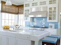 best backsplash for dark cabinets | sky blue glass subway tile