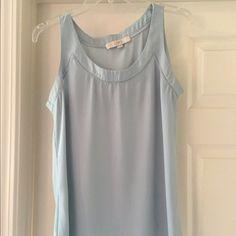 Light blue tank Light blue silk blend tank from Loft with crochet detailing around the neck. LOFT Tops Tank Tops