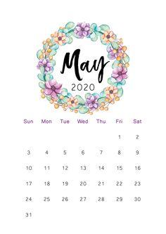 Floral May 2020 Cute Calendar - Free Printable Calendar Templates Cute Calendar, School Calendar, Print Calendar, Kids Calendar, Calendar Pages, Calendar Ideas, 2019 Calendar, Free Printable Calendar Templates, Monthly Calendar Template