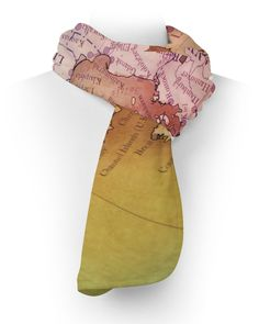 Antique Europe Map Fleece Scarf - Two Sizes - Warm For Winter