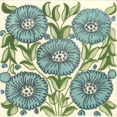 William De Morgan: Turquoise Flowers - Park Anemone