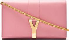 Saint Laurent - Rose Leather Ligne Y Chain Wallet
