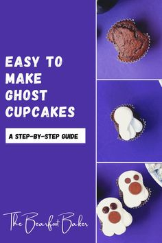 Halloween ghost cupcakes are tasty and easy to make! With just a few pieces of foil, you can reshape standard cupcakes into ghost shapes. From there, you can decorate these Halloween ghost cupcakes easily! The Bearfoot Baker Blog has a full tutorial and video on how to make this simple Halloween dessert idea! #thebearfootbaker #bakingwithkids #halloweentreatideas #ghostcupcakes