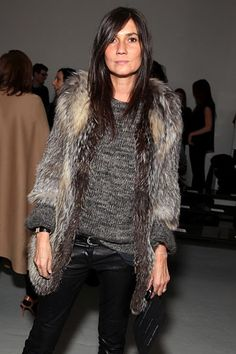 Emmanuelle Alt. Leather pants, fur coat, knit sweater. Find a great fur coat in Toronto - visit the Yukon Fur Co. at http://yukonfur.com