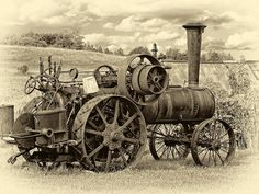 Steam Powered Tractor sepia by Steve Harrington Antique Tractors, Vintage Tractors, Old Tractors, Vintage Farm, Antique Cars, Old Ford Trucks, Lifted Chevy Trucks, Pickup Trucks, Steampunk City
