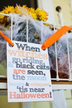 Hand Made Riddles and sayings handing from the door, windows and railings in the traditional Black, Red & Orange add to the Spook Factors