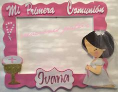 Communion Centerpieces, First Communion Decorations, First Communion Party, Party Co, Diy Party, Minnie Mouse Party, Mouse Parties, Picture Frames For Parties, Photo Booth Frame