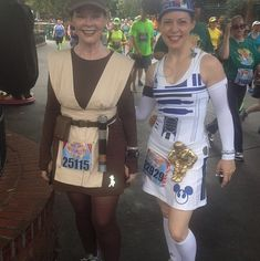 Hey, that's me and my mom!   Awesome costumes spotted at the Disneyland 10k! Yay!