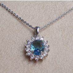 4You Jewels Collana donna in argento con zircone color acquamarina