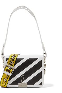 9faa60a0d28 White and black textured-leather (Calf) Magnetic fastening at front flap  Weighs approximately