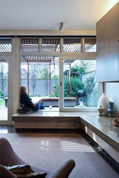 St Kilda house renovation : MAKE architecture Love the indoor/outdoor seat/bench & sliding window/door