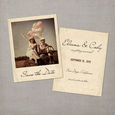 "Vintage Save the Date Polaroid Card - the ""Eliana"". $37.00, via Etsy."