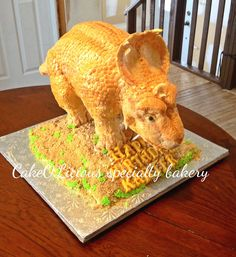 Patchi- walking with dinosaurs cake. 3D dinosaur I made for a little boy's birthday. Original birthday cake.