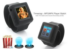 Timesnap - MP3/MP4 Player Watch with FM Radio and Sound Recording (4GB) =====> Enjoy MP4 video with ease on the go; on the convenience of your wrist. If you want a digital time piece but also want extended media features; this watch is ideal. With MP4, MP3, FM Radio, Photos, E-Books, Calendar, Sound Recorder and even a sing-a-long displayed lyrics feature when listening to MP3's, the Timesnap is packed full of media features to give you value for money.