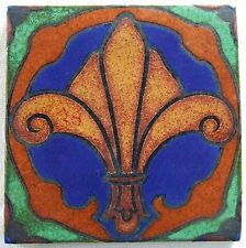 American Encaustic Tile Los Angeles AETCO LA Fleur de Lis Arts & Crafts Art Deco