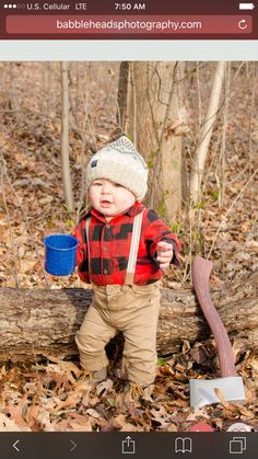 Lumberjack theme 1st birthday pictures! So cute! Top and pants are OshKosh B'gosh and hat and booties are baby gap. Found cup and fake axe on amazon!