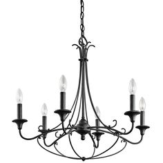This Basel collection 6-light chandelier features a distressed black finish that will complement many lodge or rustic decors.  The fanciful flourishes fill a room with a graceful elegance whether you have a New England-inspired cottage or a rustic style.
