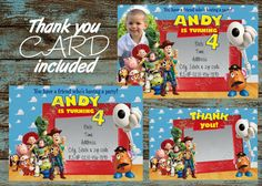 Toy Story Invitation, Toy Story Birthday, Toy Story Printable Invitation, Toy Story Party, Toy Story Thank you card, Toy Story Woody & Buzz