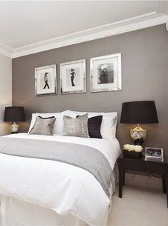 Soft greys, white & touches of black look smart, soft & suitable for both male & female.